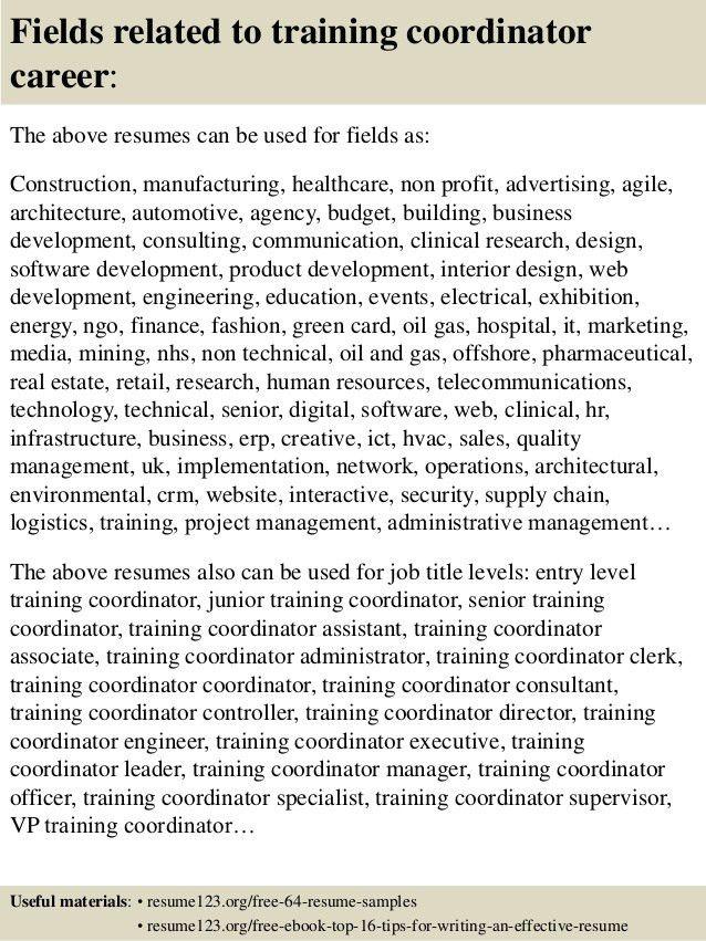 Resume samples training coordinator