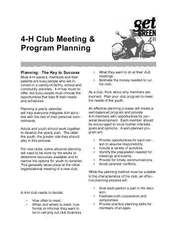 Sample 4-H Meeting Calendar and Program Plan