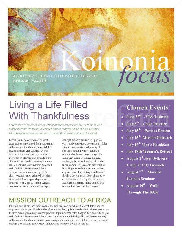 Butterfly Church Newsletter Template | Newsletter Templates