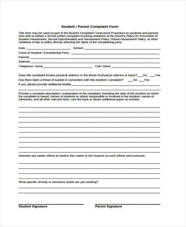 10+ School Complaint Form Samples - Free Sample, Example Format ...
