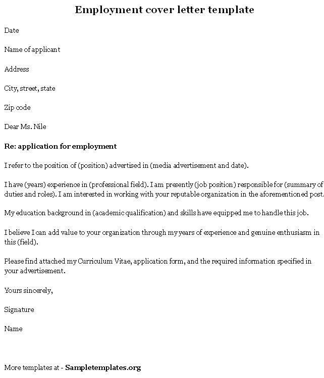 employment cover letter template inside Sample Job Application ...