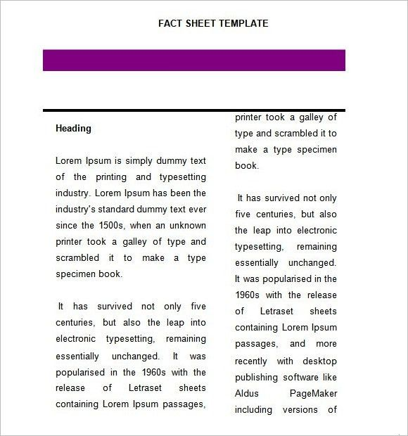 Fact Sheet Template – 8+ Download Documents in PDF , Word