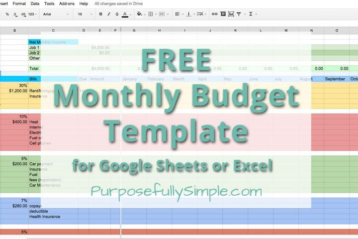 Free Monthly Budget Template - Purposefully Simple