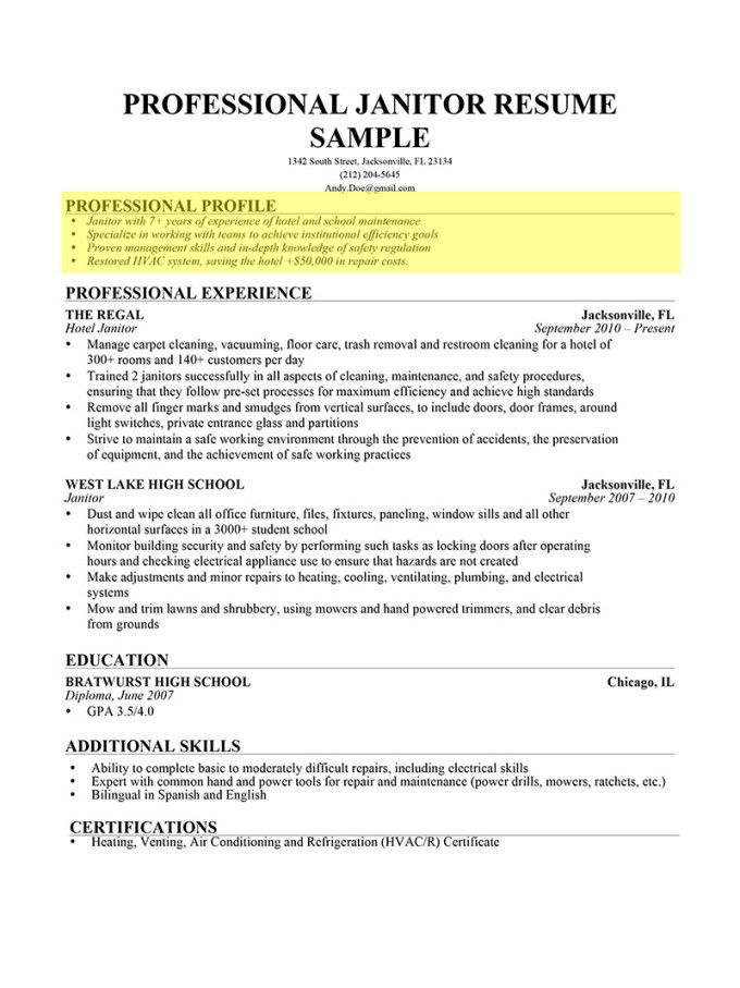 Examples Of Profiles For Resumes | Resume Examples 2017