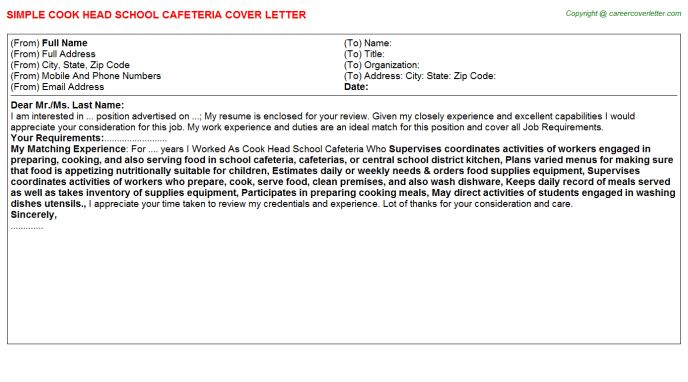 School Cafeteria Cook Cover Letters