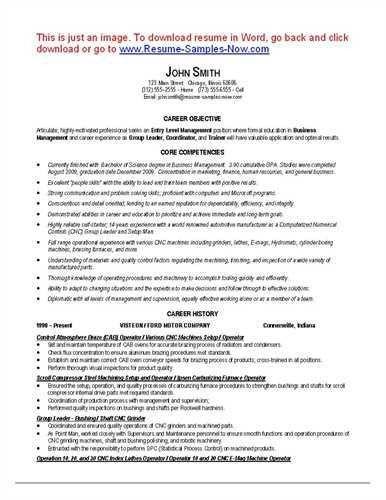 Cnc machine operator resume , , ,