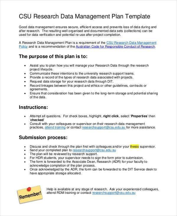7+ Data Management Plan Templates -Free Sample, Example Format ...