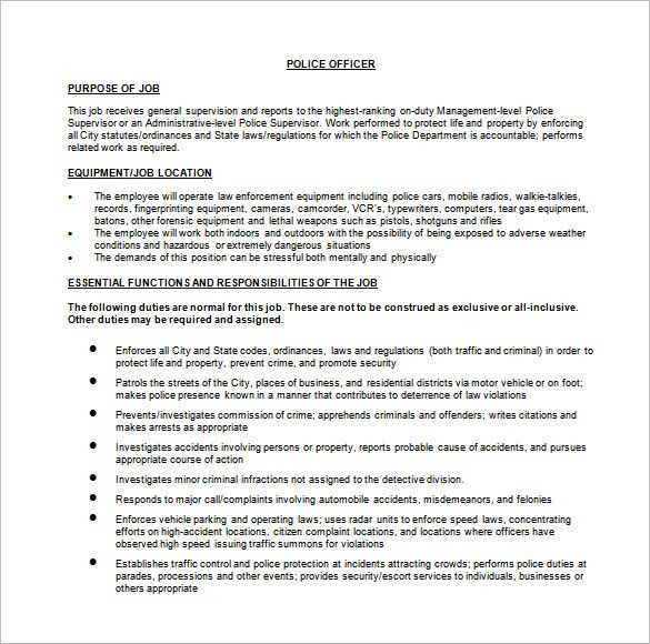 Police Officer Job Description Template – 9+ Free Word, PDF Format ...