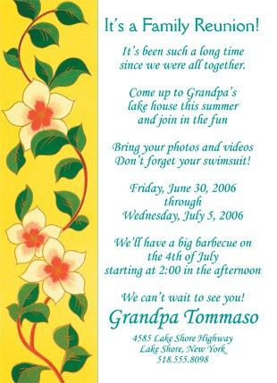 25 Personalized Family Reunion Invitations - FRF-02 Yellow Floral ...