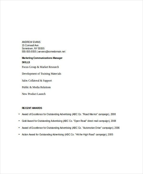 Marketing Resume Templates in Word - 22+ Free Word Documents ...