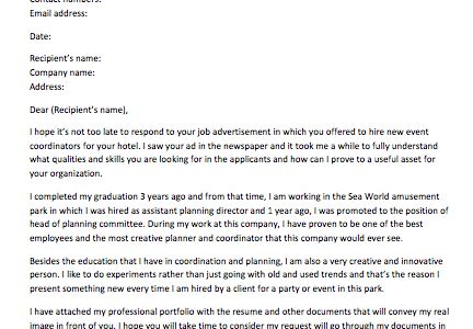 Event Coordinator Assistant Cover Letter