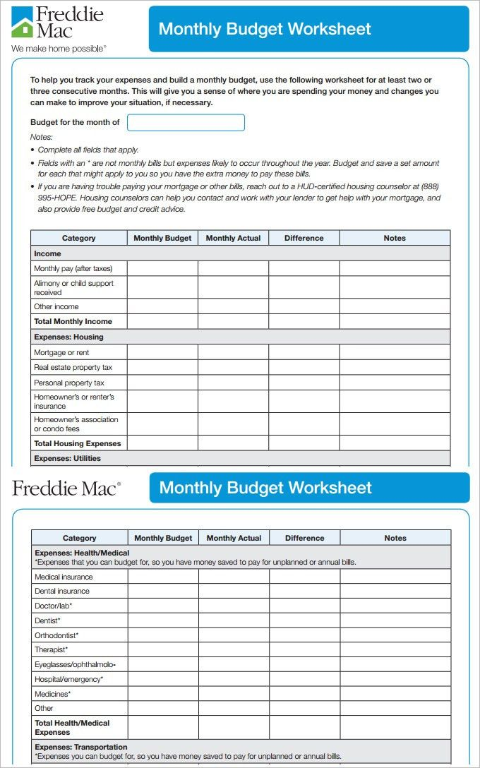 7+ Monthly Budget Template - Free Word, Excel, PDF Format Download ...