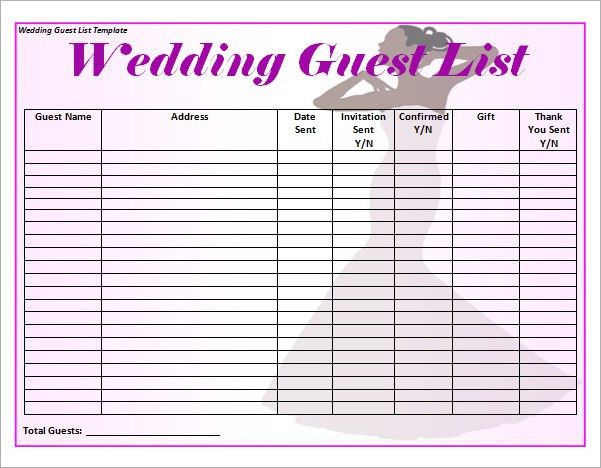 Sample Wedding Guest List Template -15+ Free Documents In Word ...