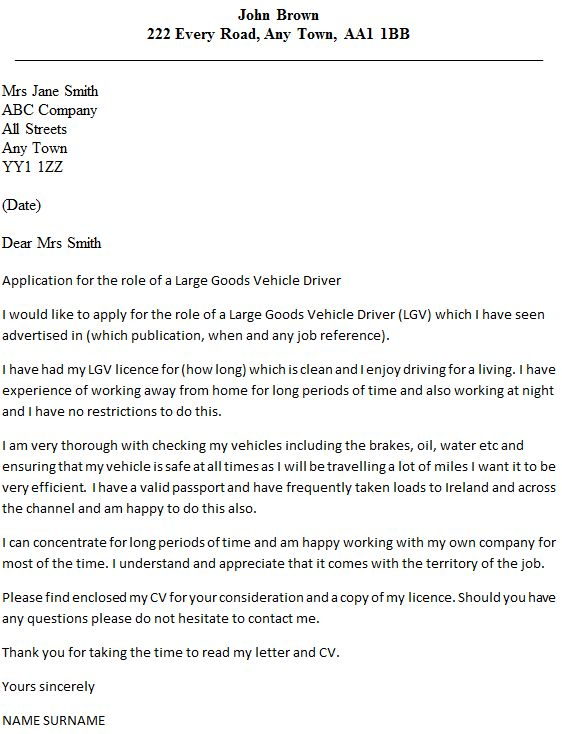 LGV Driver Cover Letter Example - icover.org.uk