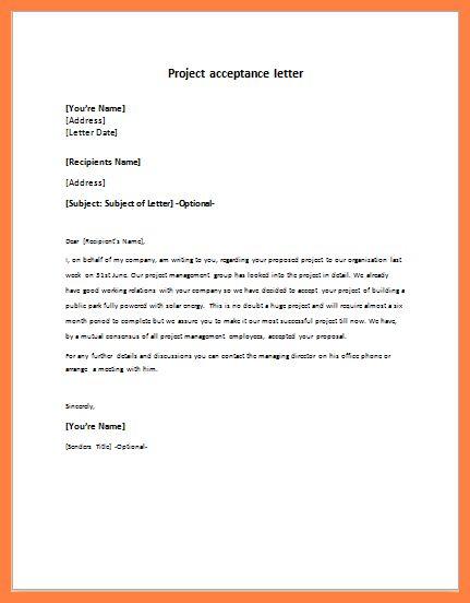 5+ acceptance letter project | Bussines Proposal 2017