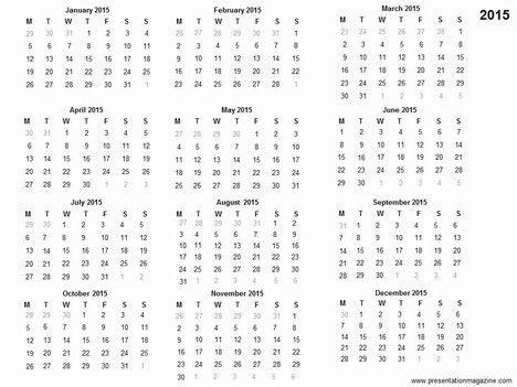 Free 2015 Printable Calendar Template