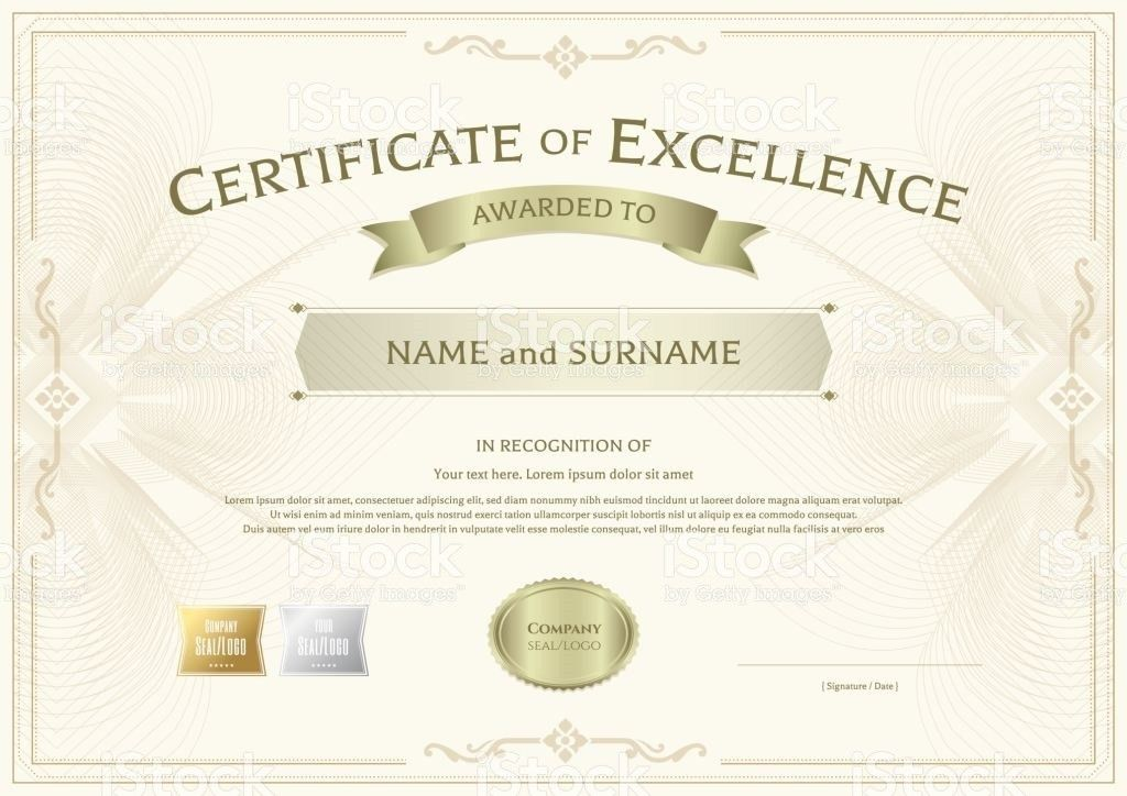 Certificate Of Excellence Template With Vintage Border Style Stock .
