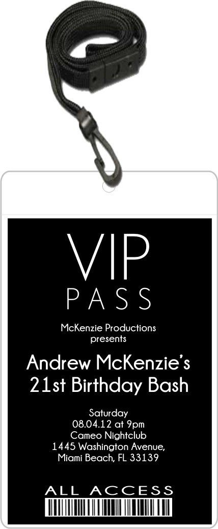 Sleek VIP Pass Invitation with Lanyard - Editable Background Color ...