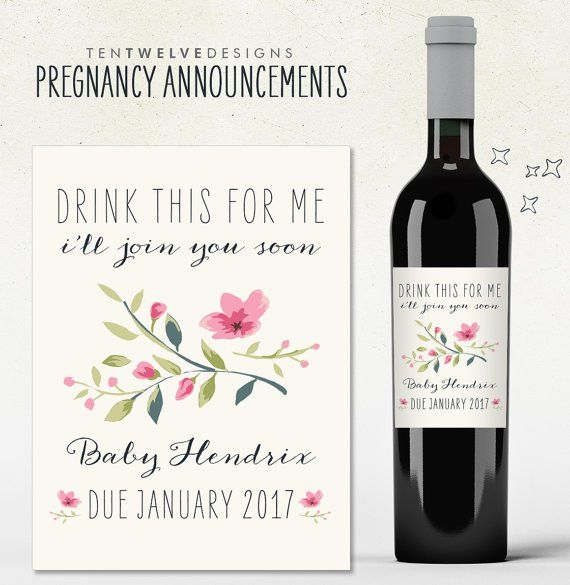 Custom Wine Label Pregnancy Announcement drink this for me