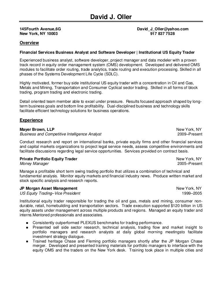 equity research analyst resume sample sample resume quantitative