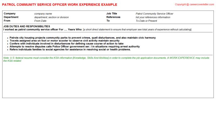 Protocol Officer CV Work Experience Samples