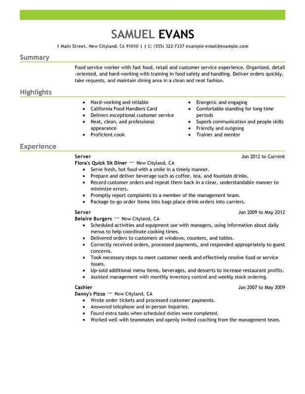 good waitress resume skills cipanewsletter waitress resume skills ...