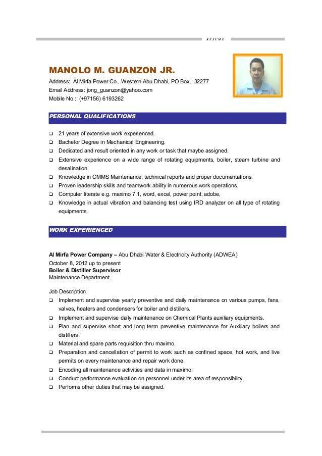 MM GUANZON, CV- MAINTENANCE ENGINEER