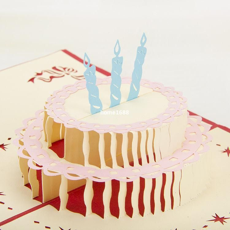 Diy Happy Birthday Cake Paper Card Cut Handmade Postcard Set 3d ...