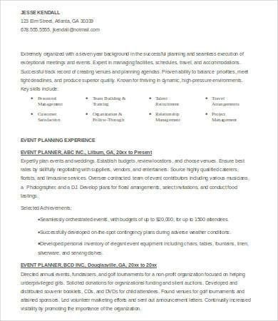 6+ Event Planner Resumes - Free Sample, Example, Format   Free ...
