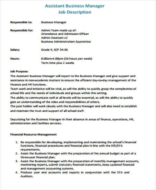 9+ Sample Business Manager Job Description - 9+ Free Sample ...
