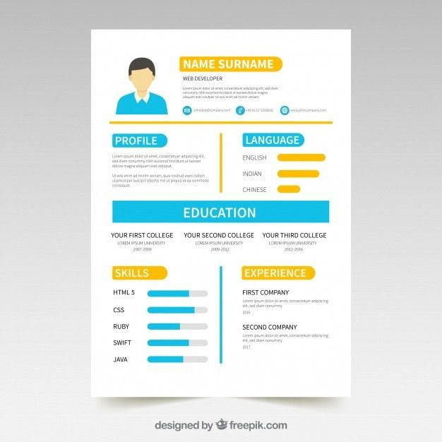 Colorful resume template with infographic elements Vector | Free ...