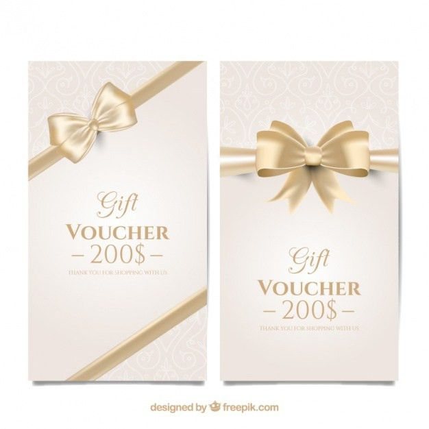 Discount vouchers with a golden bow Vector | Free Download