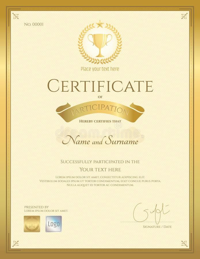 Certificate Of Participation Template In Gold Color Stock Vector ...