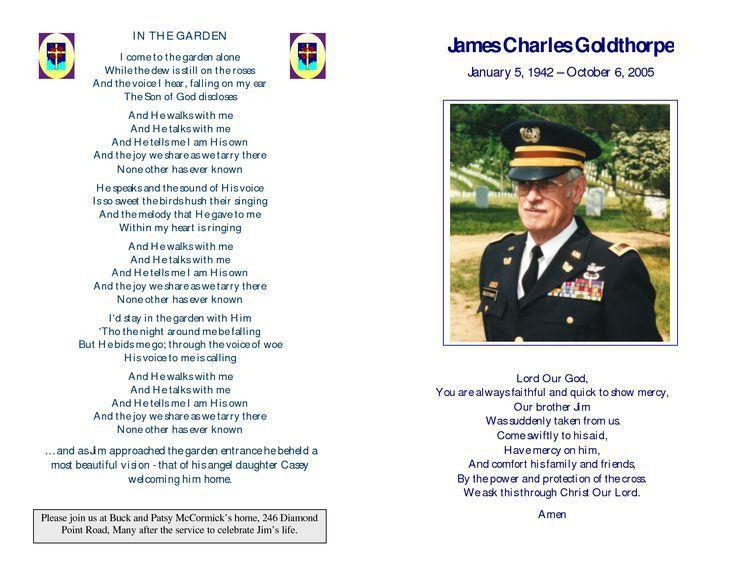 memorial service programs samples