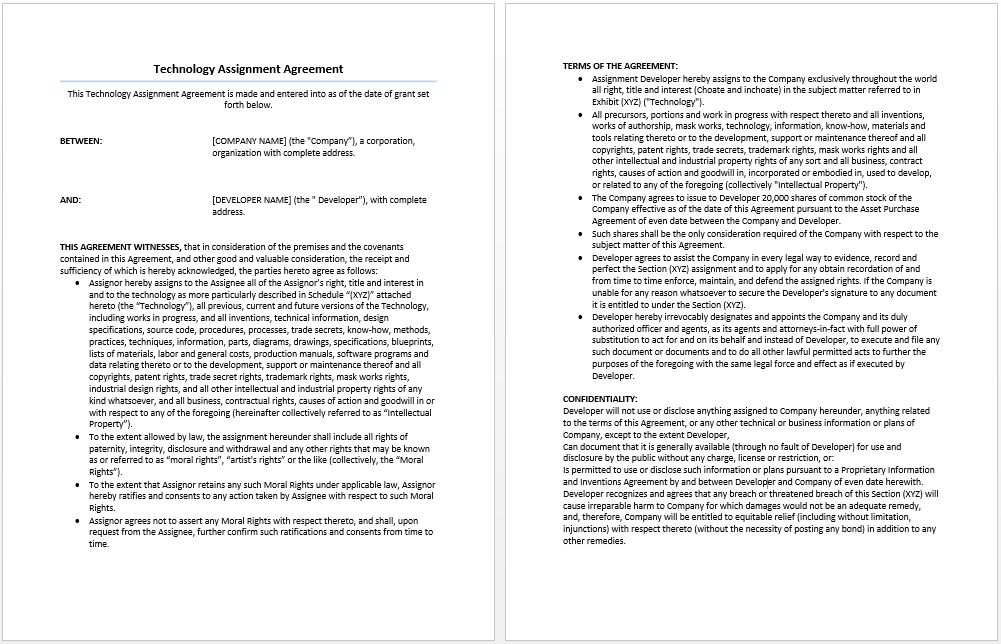 Technology Assignment Agreement Template | Format & Template