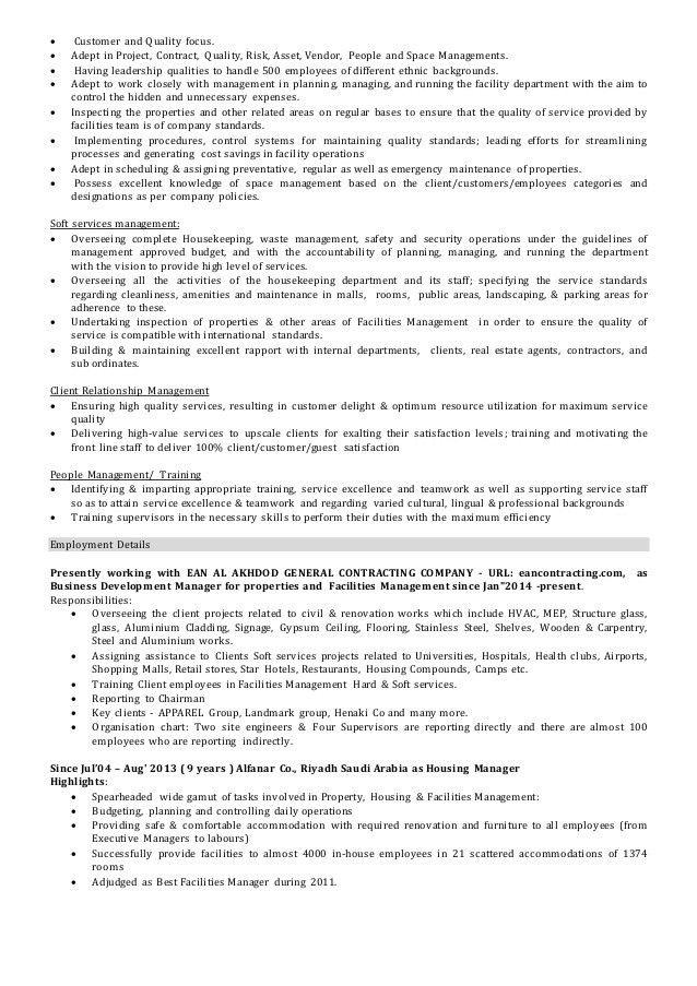 Facilities & Operations Manager CV