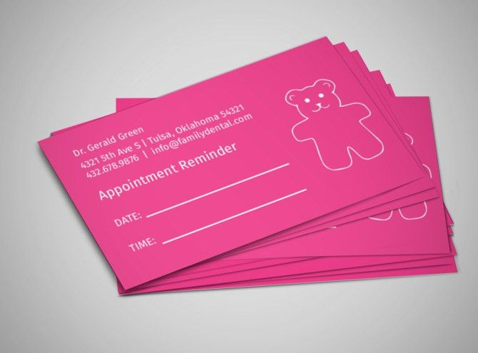 Pediatric Specialists Reminder Card Template | MyCreativeShop