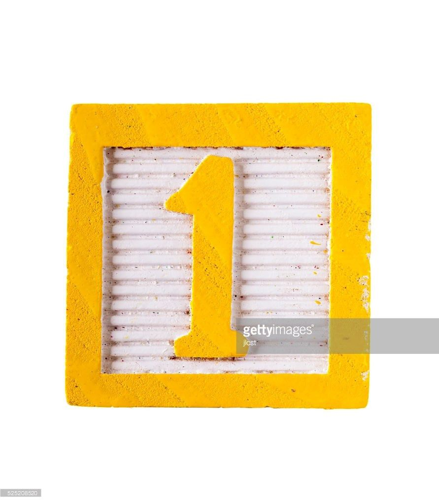 Wooden Alphabet Letter Block With Number 1 Isolated On White Stock ...