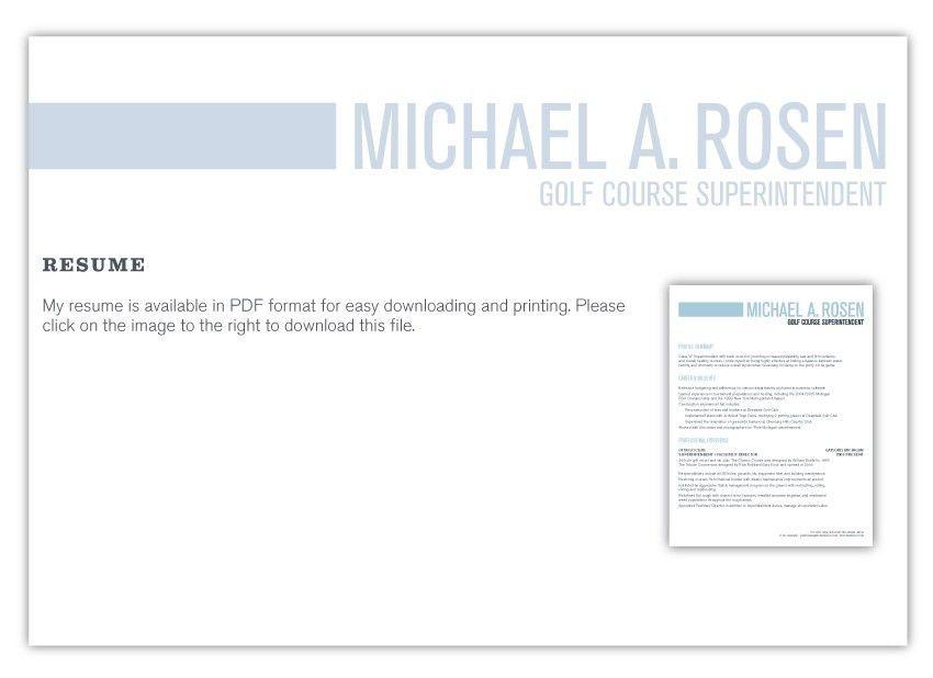 Michael A. Rosen :: Golf Course Superintendent