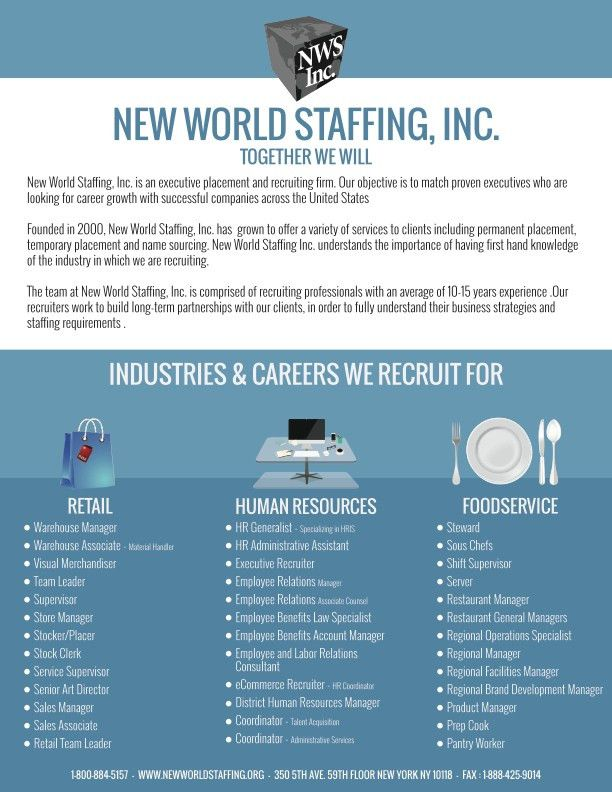 NEW WORLD STAFFING INC. 350 5th Ave 59th Floor New York, NY ...