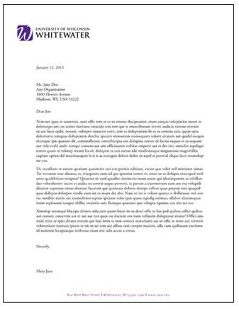 Letterhead and Fax Templates | University of Wisconsin Whitewater