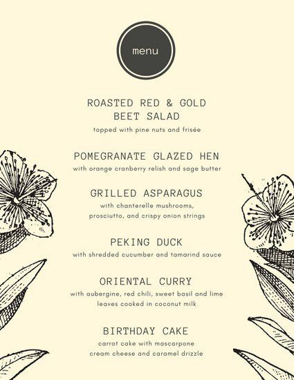 Cream with Vintage Flower Sketches Dinner Party Menu - Templates ...