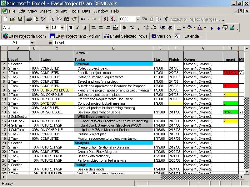Excel Project Planner