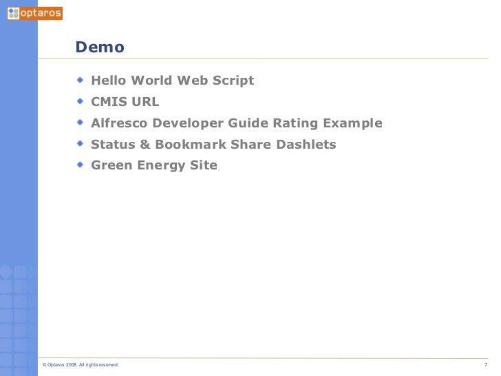 Web Scripts, Surf and CMIS [A Developer's Intro to Alfresco, Part 3. …