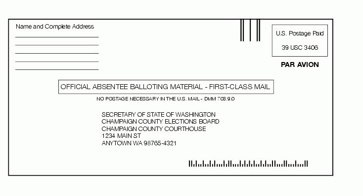 Shows the format for balloting material envelope.
