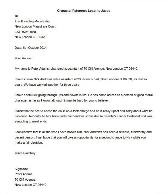 Character Letter For Court Template. Sample Character Reference ...
