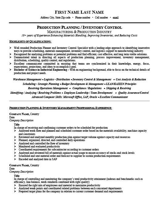Download Inventory Control Resume | haadyaooverbayresort.com