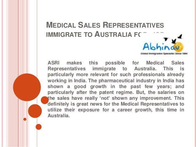 Medical sales representatives immigrate to australia for job