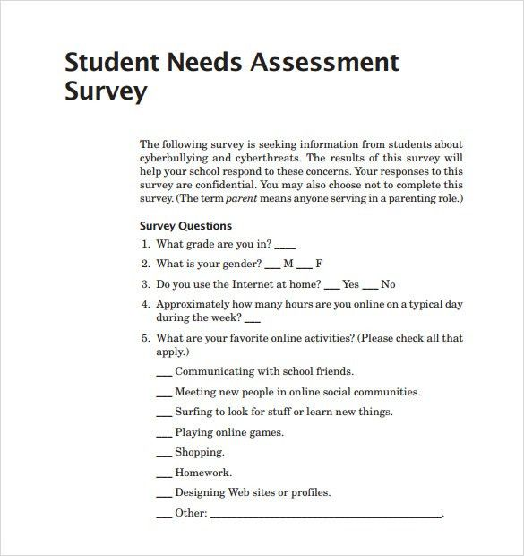 Sample Needs Assessment Survey Template – 8+ Free Documents in PDF
