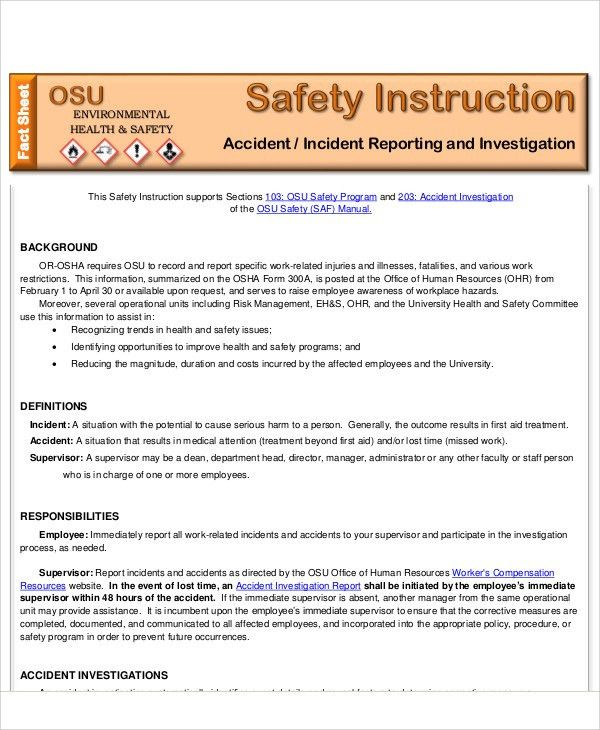 Sample Accident Incident Report - 6+ Examples in PDF, Word